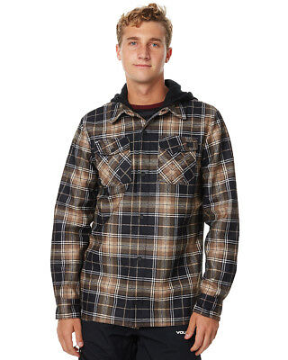 New Volcom Men's Field Bonded Snow Layer Shirt Polyester Brown