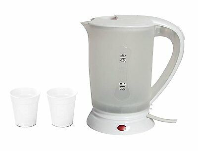 Dual Voltage 0.5L Travel Kettle With 2 Cups 650W Worldwide Use Uk Pin Plug