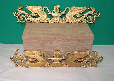 Pair French Empire Period Gilt Bronze Hardware w/ Swans and Fountain
