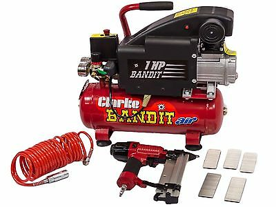 Clarke Bandit Iv 4.5Cfm Air Compressor & Nail Staple Gun Kit 2241005