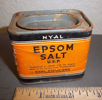 vintage NYAL epsom salt usp 4 oz tin, great graphics & colors, tin is empty