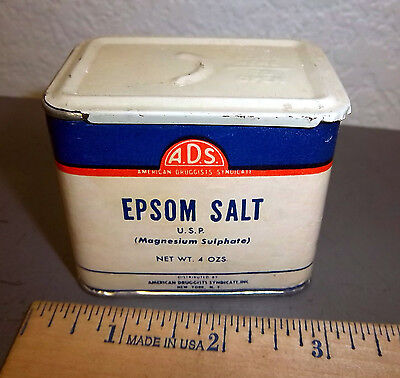 vintage still full ADS epsom salt 4 oz tin, great graphics & colors, sliding lid