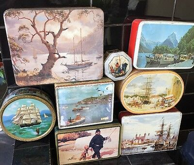 Bulk Lot Of 8 Vintage Nautical Australian British Collectable Lolly Biscuit Tins