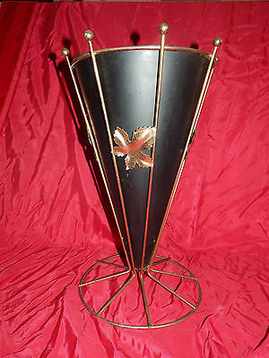 "VTG 17"" Metal Wire Ball Top Umbrella Stand Holder NO Handle-BLACK WITH LEAVES"