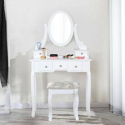 White Dressing Table Vanity Makeup Desk with 4 Drawers, 3 Mirror Set and Stool