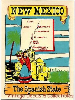 Vintage New Mexico Spanish State Senorita Souvenir Travel Decal Waterslide Art