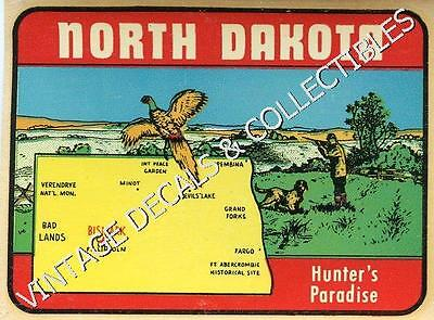 Vintage North Dakota Hunter's Paradise State Map Souvenir Travel Decal Sticker