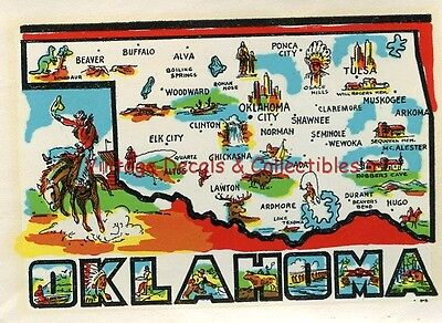 Vintage Oklahoma State Souvenir Travel Decal Luggage Original Cowboy Graphic Art