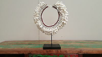 Hand made Traditional Papua Large Shell Natural Round Necklace Display Stand # 3