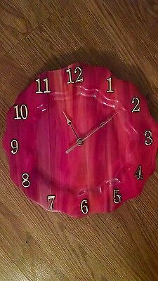 Gorgeous Swirling Firey Red Stained Glass Dinner Plate Size Clock !