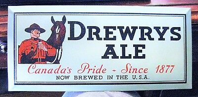 Vintage Drewrys Ale Toc Tin Over Cardboard Metal Beer Sign South Bend In Mountie