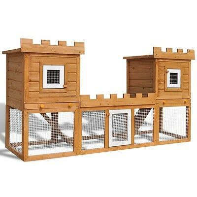 New Large Rabbit Hutch Pet House Cage 2-Layer Animal Pig Hen Chicken Double Wood