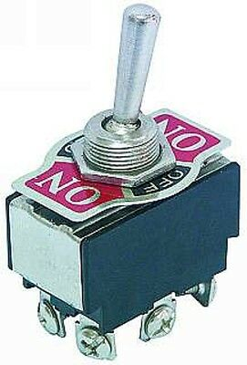 Toggle switch, 3 Positions, large, Chrome lever, ON-OFF-ON, 12V-230V, 6A, S19S