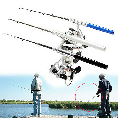 Telescopic Fishing Rod Pole Reel Mini Pocket Pen Type with Nylon Line Set Tools