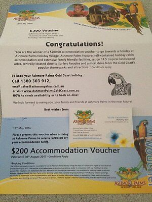 $200 Accommodation Voucher - Ashmore Palms, Gold Coast  use by 2018 August