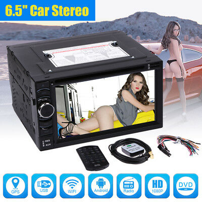 "6.5"" Double 2DIN Car Radio Stereo DVD Player GPS Quad Core Android 4.4 3G WIFI"