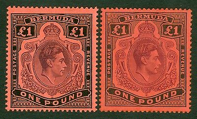 SG 121b & 121c £1 values Bermuda. Fine fresh lightly mounted mint example...