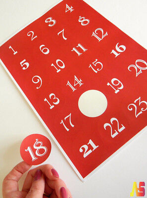 New Year Christmas Countdown Number Stickers Advent Calendar Red Green White