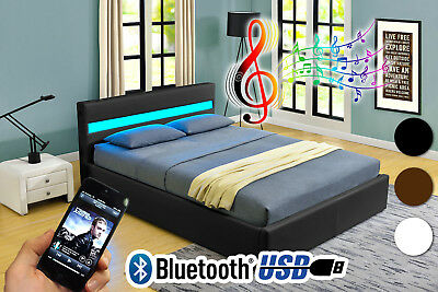 Romero Ottoman MUSIC Storage Bed -LED-BLUETOOTH-USB-Leather -Double,King Size