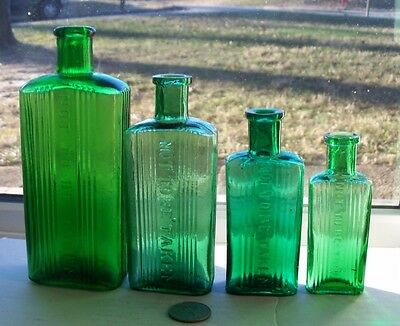 Four Different Rectangle Green Ridge  Poisons - Not To Be Taken