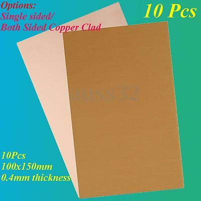 10pcs 100x150mm 0.4mm FR4 Copper Clad Plate Laminate Printed Circuit Boards