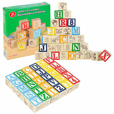 Kids Educational Wooden Cubes Numbers Letters Playset Alphabet Childs