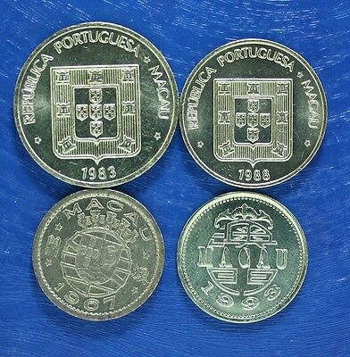 MACAO 4 DIFFERENT COINS UNUSUAL set MACAU GREAT PRICE!
