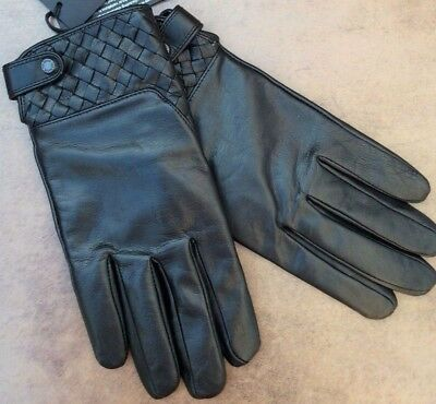 Ted Baker Black Leather Gloves With Woven Detail Size S/m Bnwt Retail £79