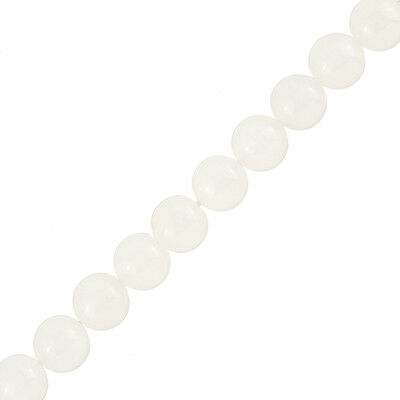 "10mm Moonstone Beads Semi-Precious White Gems 8"" Strand Approx. 20 beads (J44/3)"