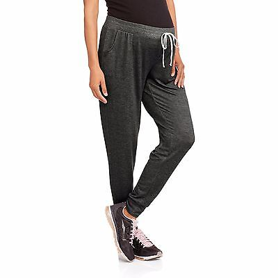 Glamour & Co Maternity French Terry Drawstring Jogger Pants, Large, Charcoal
