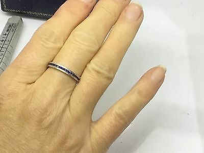 9 Ct White Gold Sapphire 1/2 Eternity STONE RING - SIZE N1/2