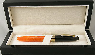 Sheaffer Legacy Fantasy Orange & Black Cap Fountain Pen -18kt Fine Nib - NEW