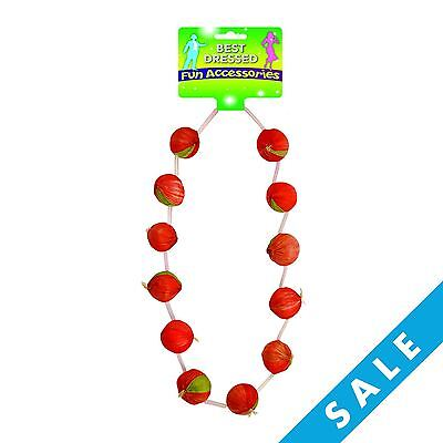 Red Onion Garland Necklace French Fancy Dress Costume Bastille Day