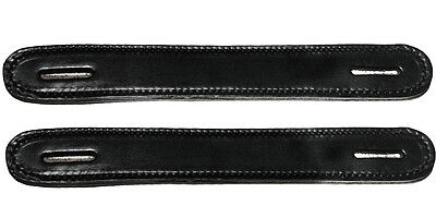 Lot of 2 Black Leather double and stitched Steamer trunk handles