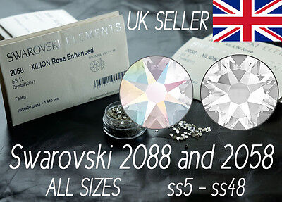 100x SWAROVSKI 2058/2088, Flat Back Crystals, No Hot Fix, ALL COLOURS AND SIZES