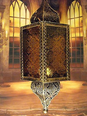 Moroccan Lantern Candle Holder Antique Silver Metal Hanging Moroccan Style New