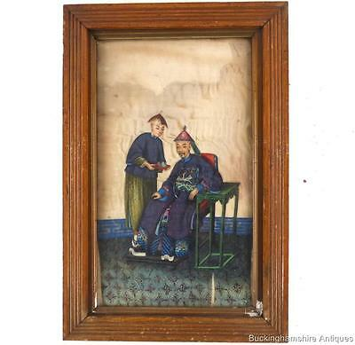 ANTIQUE CHINESE QING PITH RICH PAPER WATERCOLOUR PAINTING ON SILK b