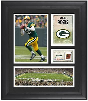 """Aaron Rodgers Green Bay Packers Framed 15"""" x 17"""" Collage with Game-Used Football"""