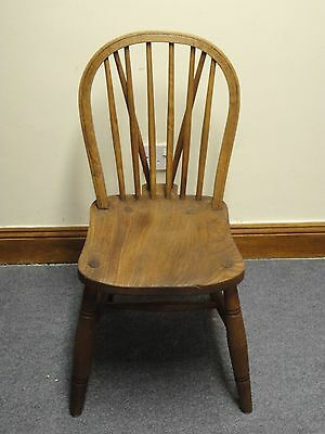 Country Rustic Antique Georgian Elm Wycombe Glenister Windsor Chairs Stamped