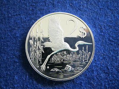 1974 Cayman Islands Silver Proof 2 Dollars - Great Blue Heron- Free U S Shipping