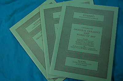 3 Sotheby's Catalogs Oriental Ceramics Works of Art 1976 1977
