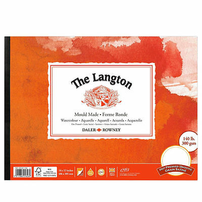 Daler Rowney Langton Watercolour Pad - HP - Smooth Hot Pressed - 12x9