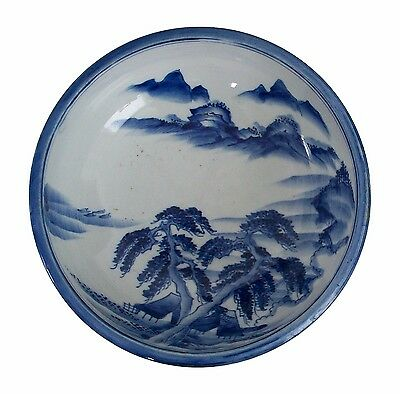 Vintage Blue & White Bowl - Hand Painted - Signed - Japan - Mid 20th Century