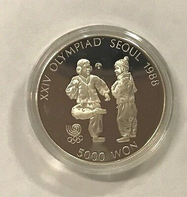 1988 Seoul Olympic Proof 5,000 Silver Coin
