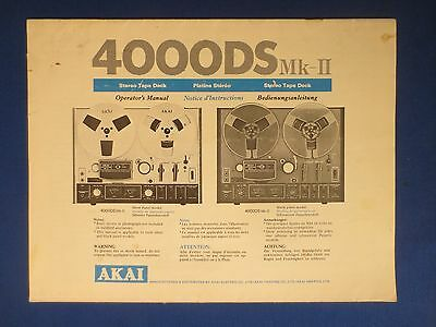 AKAI 4000DS MK-II OWNER OPERATOR MANUAL ORIGINAL FACTORY ISSUE THE REAL THING v2