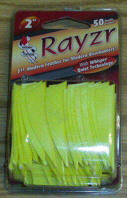 """Gateway Feathers 2"""" Rayzr L/W 50 Pack Flo Yellow Left Wing"""