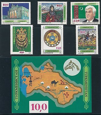 1992 Turkmenistan #2 - #7 & #9 MINT NEVER HINGED