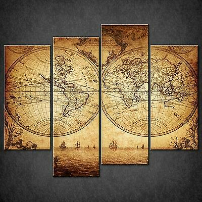 Vintage World Map Sepia Cascade Canvas Wall Art Print Picture Ready To Hang