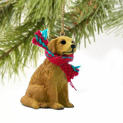 Resin Golden Retriever Tiny One Scarf Ornament