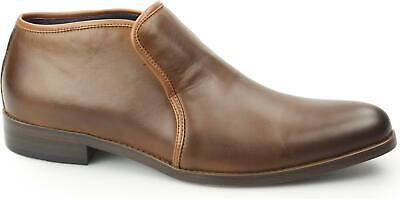 Gucinari BOND Mens Leather Smooth Plain Toe Slip On Casual Chelsea Ankle Boots